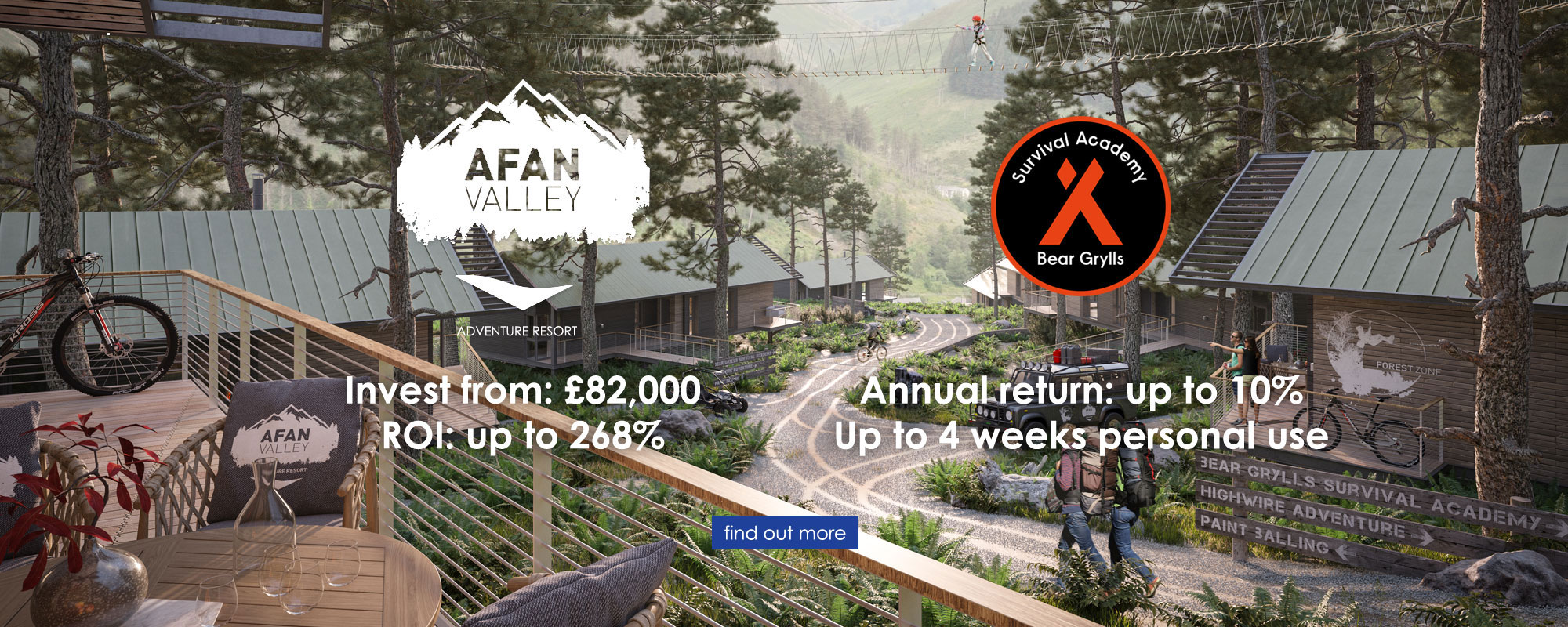 Afan Valley Adventure Resort with Bear Grylls Survival Academy - Invest from £82,000, Annual return up to 10%, ROI up to 268%, Up to 4 weeks personal use - Find out more